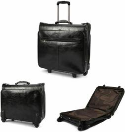 """18"""" Wheeled Garment Bag- Business Travel Suitcases Leather b"""