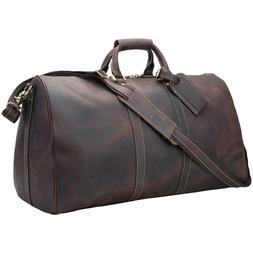 "22"" Real Leather Overnight Luggage Suitacase Duffel Gym Bag"