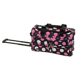 ROCKLAND 22 ROLLING DUFFLE BAG MULPINKDOTS
