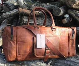 25 Inch Large Leather Duffel Travel Duffle Gym Sports Overni