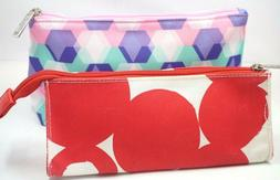 CLINIQUE 2pc Cosmetic Bag Set Makeup Travel Large & Small Zi