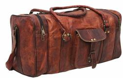 """30""""New Large Vintage Men Real Leather Tote Luggage Bag Trave"""