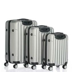 3PCS Grey Luggage Travel Set Bag ABS Trolley Hard Shell Suit