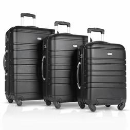 3PCS Luggage Travel Set ABS Spinner Bag Trolley Suitcase w/