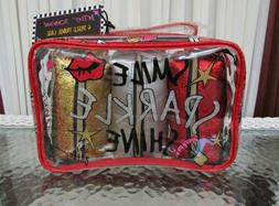 BETSEY JOHNSON 4 PC TRAVEL CASE COSMETIC MAKE-UP BAGS BOOMBO
