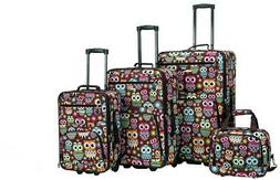 Rockland 4 Piece Luggage Set, Owl, One Size
