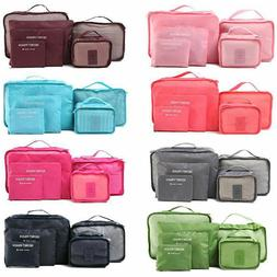 6PCS Waterproof Clothes Travel Storage Bags Packing Cube Lug