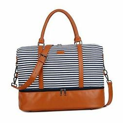 BAOSHA HB-28 Ladies Women Canvas Travel Weekender Overnight Carry-on Shoulder Duffel Tote Bag With PU Leather Strap Blue