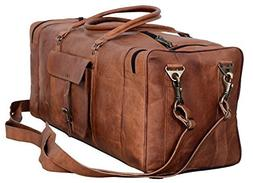 Leather Duffel Bag Large 28 inch Travel Bag Gym Sports Overn