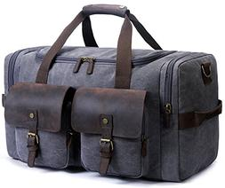 SUVOM Canvas Duffle Bag Leather Weekend Bag Carry On Travel