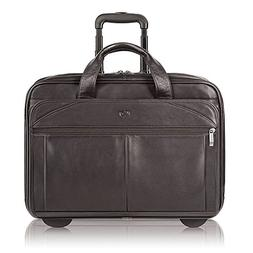 Solo Walker 15.6 Inch Premium Leather Rolling Laptop Case, E