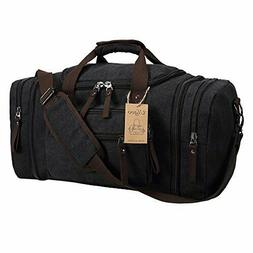 Sports Duffels Ulgoo Travel Bag Canvas PU Leather Weekend Ov
