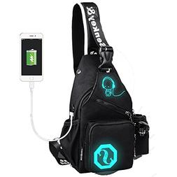 LOVEAnime Luminous Backpack with USB Charging Port Chest Bag