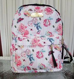 Betsey Johnson Backpack Floral Striped Pink Travel School Di