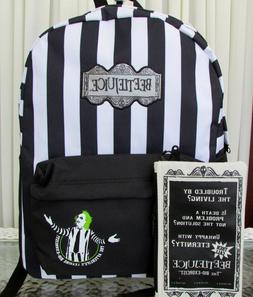 Beetlejuice Backpack Striped with Zipper Pouch School Travel