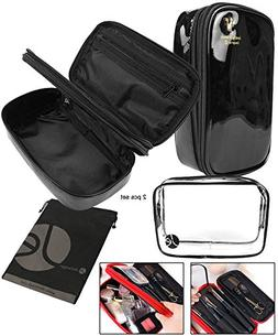 JAVOedge  Black Bold Colored Double Zipper Cosmetic Travel B
