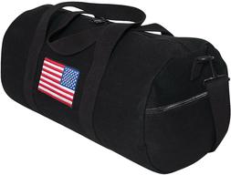 Black Heavy Canvas Gym Travel Shoulder Duffle Bag with USA F