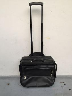 black leather boarding bag luggage telescopic handle