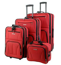 ROCKLAND 4PC BLACK LUGGAGE SET RED