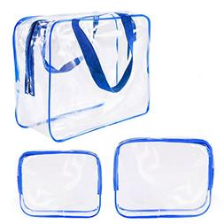 3Pcs Crystal Clear Plastic Cosmetic Bags Travel PVC Vinyl To