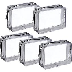 Pangda 5 Pack Clear PVC Zippered Toiletry Carry Pouch Portab