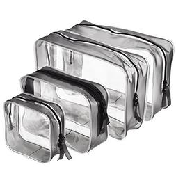 Pangda 4 Pieces Clear PVC Zippered Toiletry Carry Pouch Wate