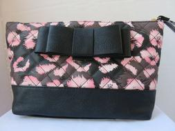 Betsey Johnson Cosmetic Case Black Pink Abstract Bow Wristle