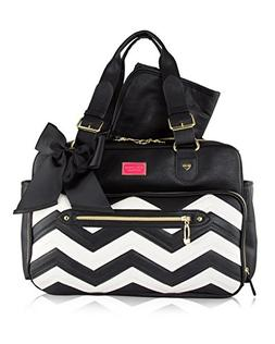 Betsey Johnson Baby Diaper Bag Tote Chevron Weekender Travel