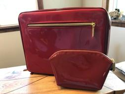 Estee Lauder Large Cosmetic Travel Bag Red faux Patent train