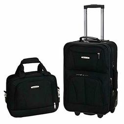 Rockland Expandable Travel Luggage 2 Piece Black, Heavy Duty