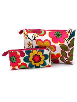 Clinique Floral Fuschia & Green Cosmetic Makeup Travel Bag -