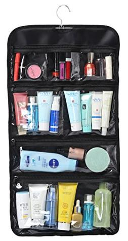 foldable clear hanging toiletry bag