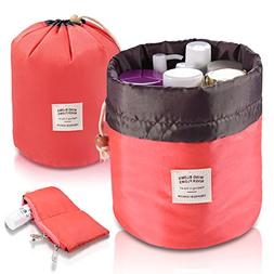 Foldable Round Bucket Style Travel Makeup Bag + Small Zipper