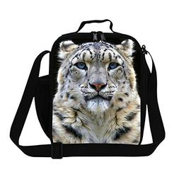 Generic Tiger Lion Leopard Head Print Insulated Lunch Bags f