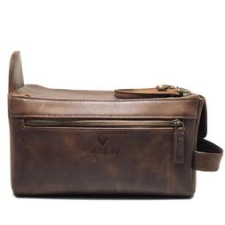 Genuine Buffalo Leather Unisex Toiletry Bag Travel Dopp Kit