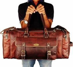 Genuine Leather Overnight Travel Duffle Overnight Weekender