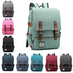 Canvas Leather Travel Backpack Rucksack Laptop School Bag fo