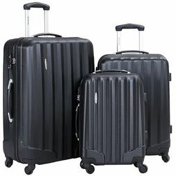 3 Pcs Family Luggage Travel Set Bag ABS Trolley Suitcase w/T
