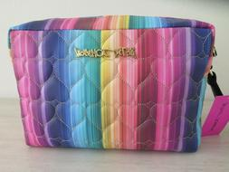 BETSEY JOHNSON Heart Print Large Double Zip Travel Cosmetic