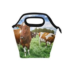 ALAZA Herd Cows Nature Field Farm Insulated Lunch Tote Bag C