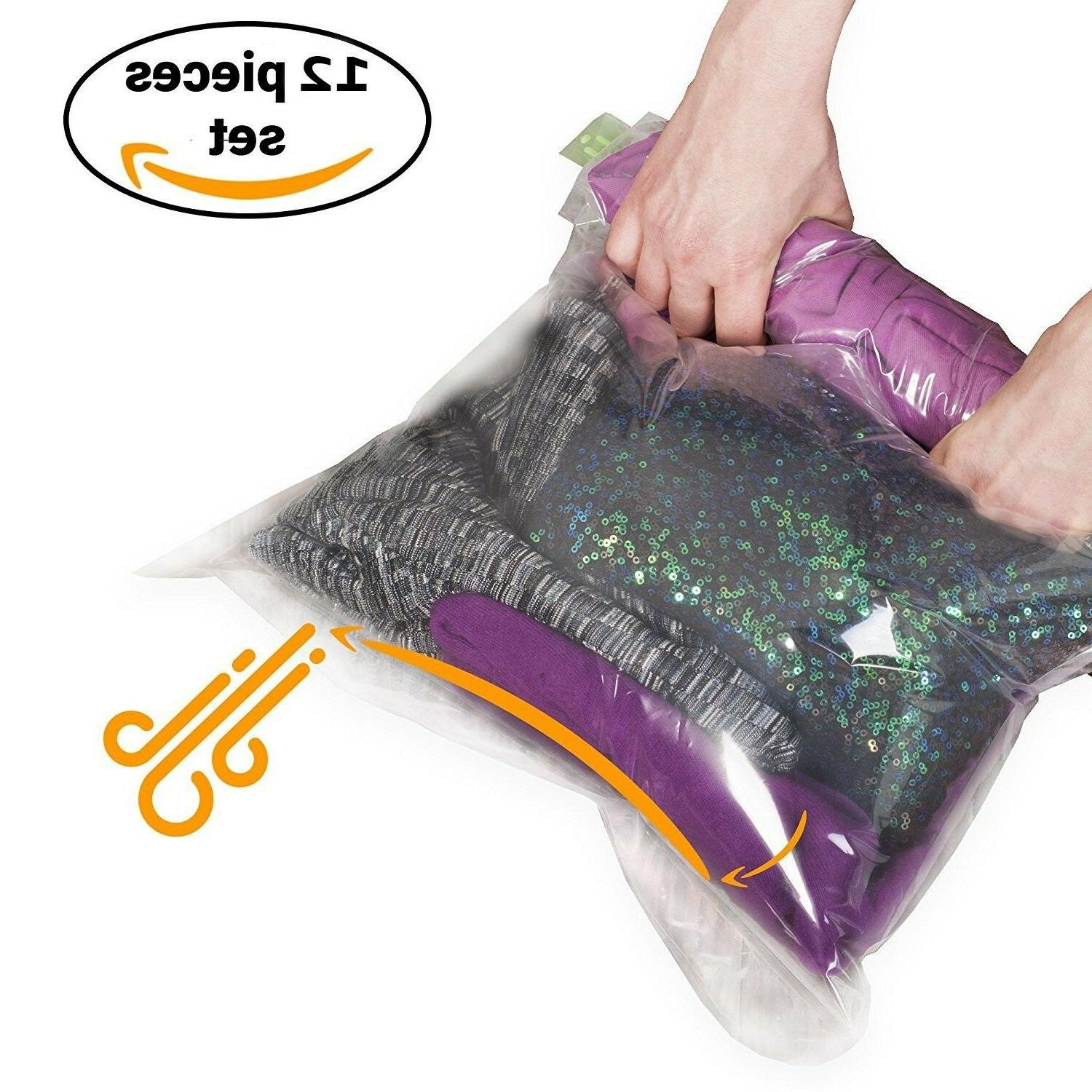 12 Travel Storage Bags for Clothes - Compression Bags for Tr