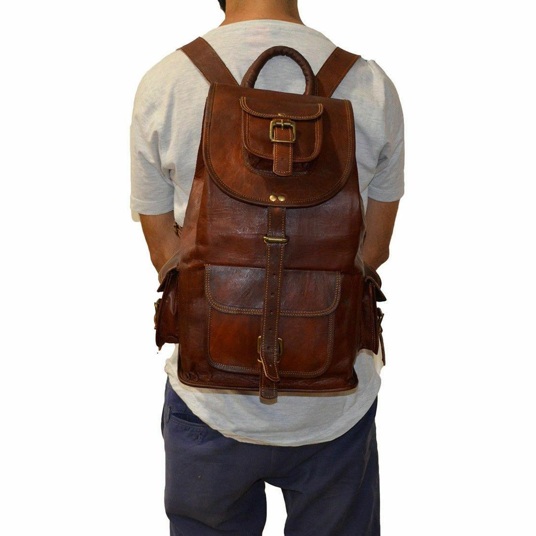 """20"""" New Large Leather Back Pack Rucksack Travel Bag Men's and Women's."""