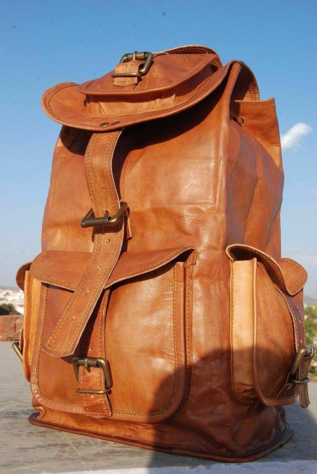 "20"" Soft Leather High Back Rucksack Travel Men's & Women's"