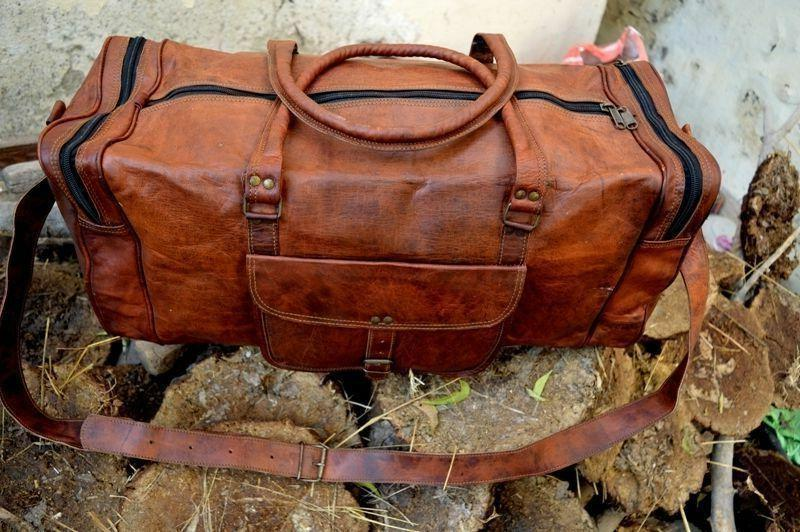 "25""New Vintage Real Leather Tote Bag Travel Bag Gym"
