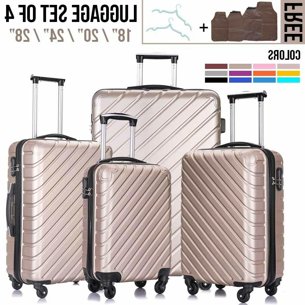 3/4PCS Luggage Set Travel Bag Trolley ABS Spinner Hard Shell