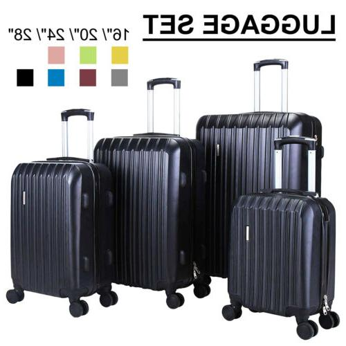 3/4PCS Travel Set Bag ABS Trolley Spinner Suitcase Luggage w