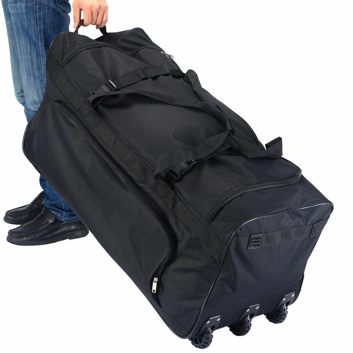 "36"" Rolling Duffle Luggage Duffle Suitcase Black New"