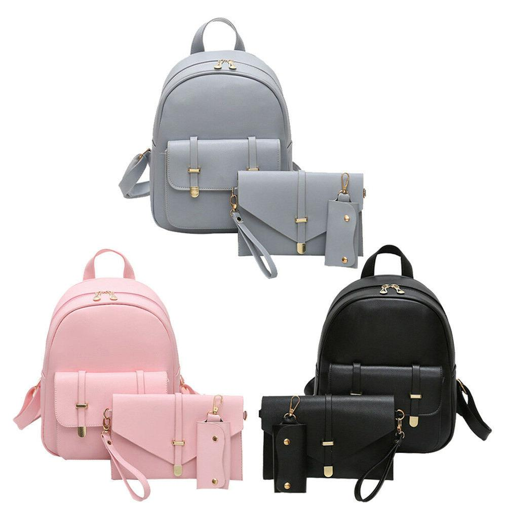 3PCS Women Backpack Rucksack Handbag Travel Shoulder School