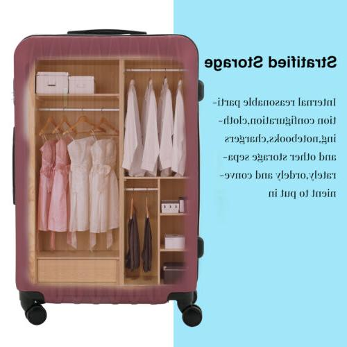 4PCS Luggage Set Bag Carry On 360° Spinner Lock ABS