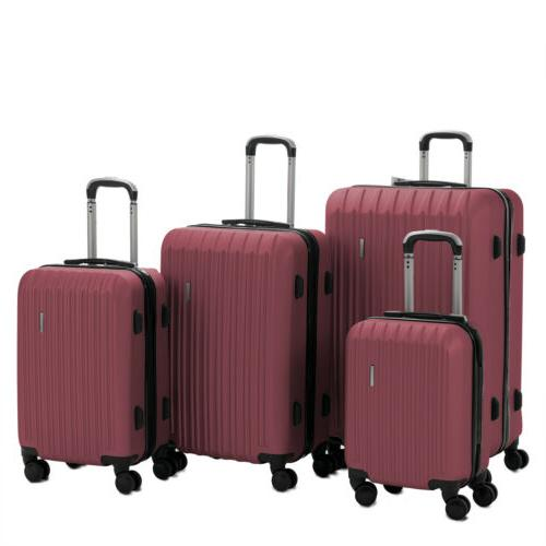 "4PCS Luggage Travel Set ABS w/ Red 20"" 24"" 28"""